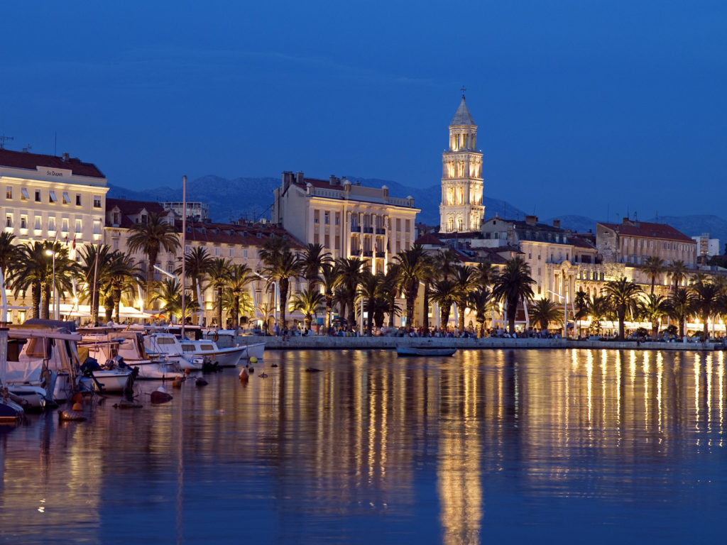 Split, Croatia --- Split, an old Roman city classified as World Heritage by UNESCO and Riva, or seaside promenade, lined with palm trees. --- Image by © Franck Guiziou/Hemis/Corbis